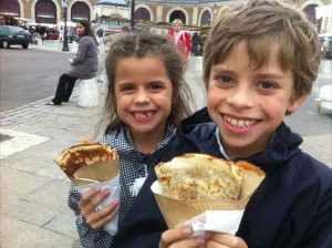 My kids with crepes in Paris