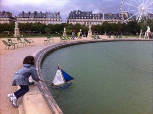 My daughter boat pushing in Paris