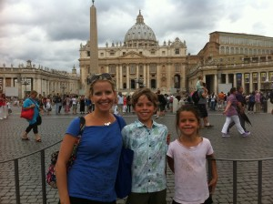 With the kids in St. Peter's Square