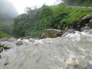 Rushing water from full waterfalls overtook the road in many places.
